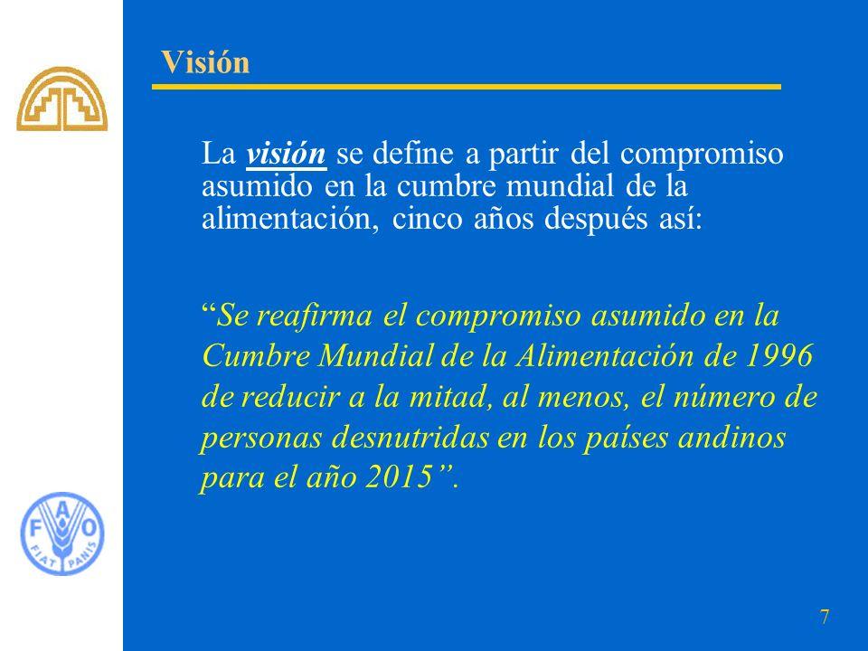 7 La visión se define a partir del compromiso asumido en la cumbre mundial de la alimentación, cinco años después así: Se reafirma el compromiso asumi