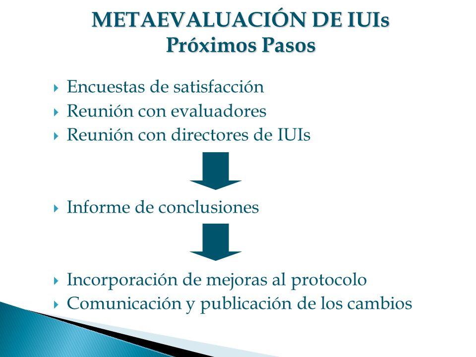 Encuestas de satisfacción Reunión con evaluadores Reunión con directores de IUIs Informe de conclusiones Incorporación de mejoras al protocolo Comunicación y publicación de los cambios METAEVALUACIÓN DE IUIs Próximos Pasos