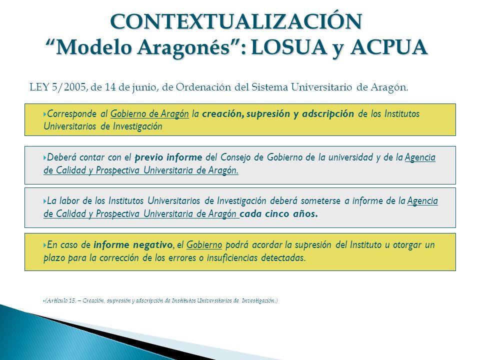 Corresponde al Gobierno de Aragón la creación, supresión y adscripción de los Institutos Universitarios de Investigación Deberá contar con el previo i