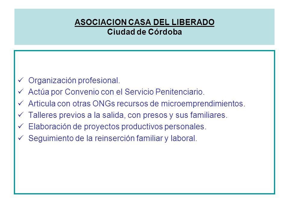 Organización profesional. Actúa por Convenio con el Servicio Penitenciario. Articula con otras ONGs recursos de microemprendimientos. Talleres previos