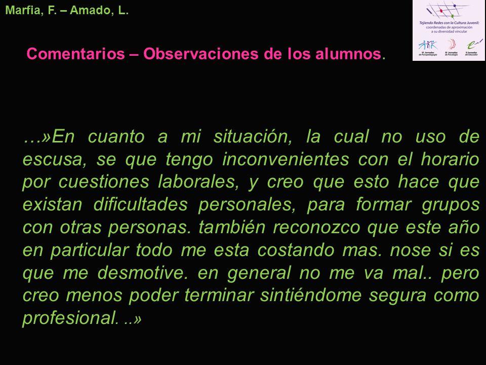 Marfia, F. – Amado, L. Comentarios – Observaciones de los alumnos. …»En cuanto a mi situación, la cual no uso de escusa, se que tengo inconvenientes c
