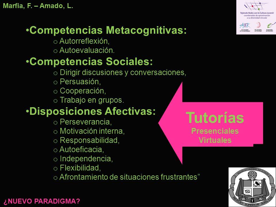 Competencias Metacognitivas: o Autorreflexión, o Autoevaluación. Competencias Sociales: o Dirigir discusiones y conversaciones, o Persuasión, o Cooper
