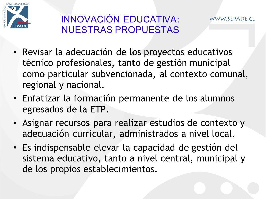 INNOVACIÓN EDUCATIVA: NUESTRAS PROPUESTAS Revisar la adecuación de los proyectos educativos técnico profesionales, tanto de gestión municipal como particular subvencionada, al contexto comunal, regional y nacional.