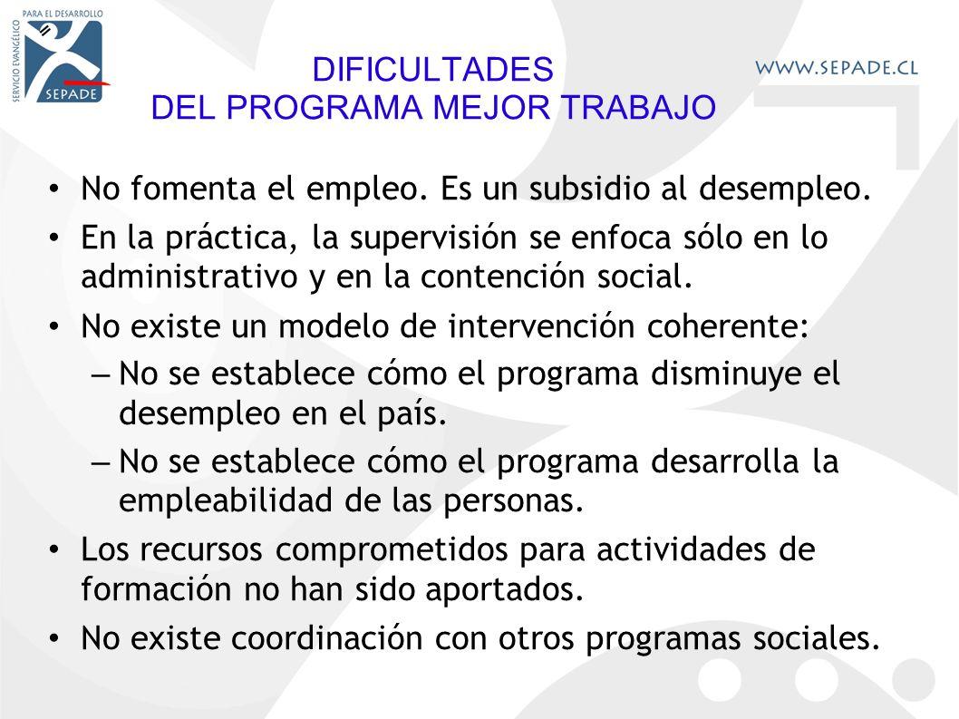 DIFICULTADES DEL PROGRAMA MEJOR TRABAJO No fomenta el empleo.