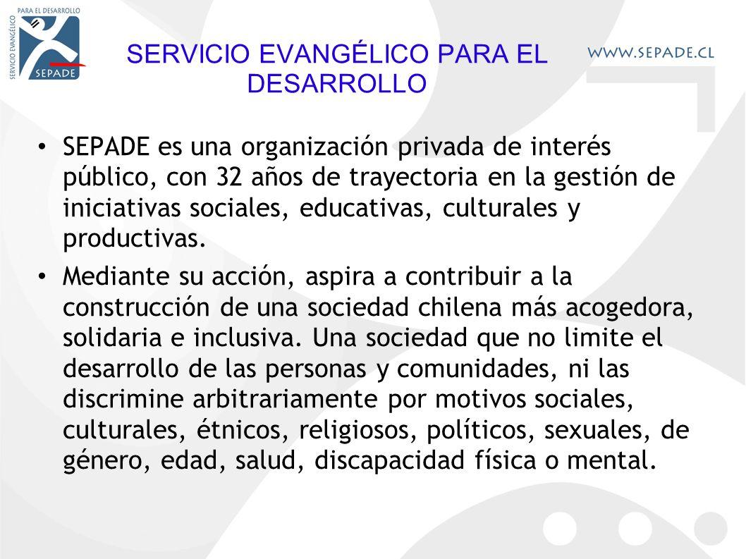 SERVICIO EVANGÉLICO PARA EL DESARROLLO SEPADE es una organización privada de interés público, con 32 años de trayectoria en la gestión de iniciativas sociales, educativas, culturales y productivas.