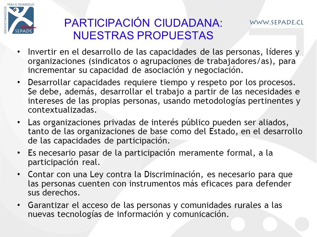 PARTICIPACIÓN CIUDADANA: NUESTRAS PROPUESTAS Invertir en el desarrollo de las capacidades de las personas, líderes y organizaciones (sindicatos o agrupaciones de trabajadores/as), para incrementar su capacidad de asociación y negociación.