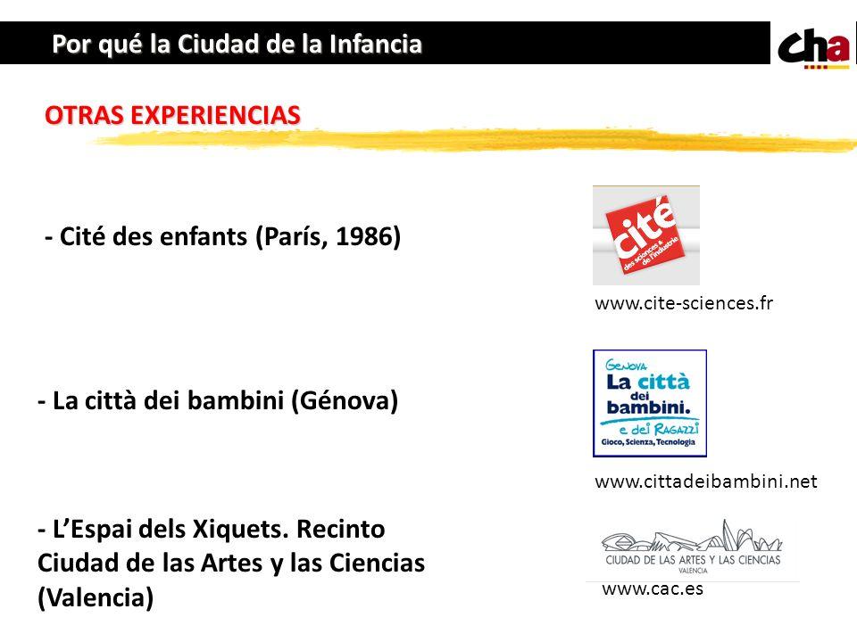 Por qué la Ciudad de la Infancia OTRAS EXPERIENCIAS - Cité des enfants (París, 1986) - La città dei bambini (Génova) - LEspai dels Xiquets. Recinto Ci