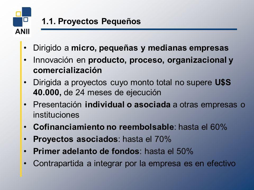 1.1. Proyectos Pequeños Dirigido a micro, pequeñas y medianas empresas Innovación en producto, proceso, organizacional y comercialización Dirigida a p