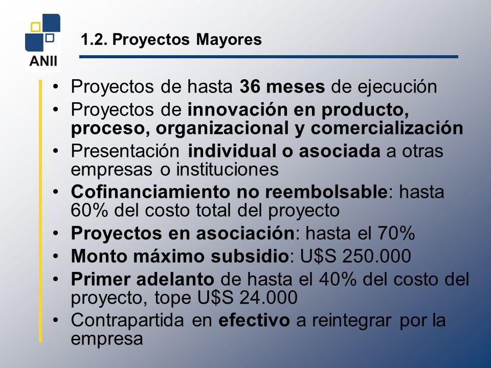 1.2. Proyectos Mayores Proyectos de hasta 36 meses de ejecución Proyectos de innovación en producto, proceso, organizacional y comercialización Presen