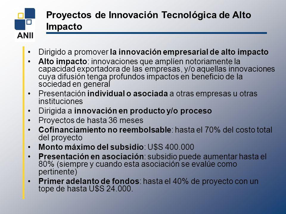 Proyectos de Innovación Tecnológica de Alto Impacto Dirigido a promover la innovación empresarial de alto impacto Alto impacto: innovaciones que amplí