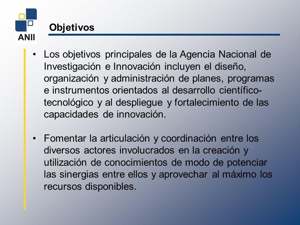 Objetivos Los objetivos principales de la Agencia Nacional de Investigación e Innovación incluyen el diseño, organización y administración de planes,