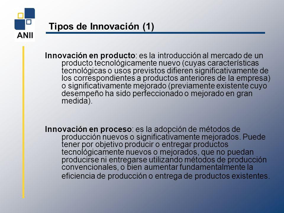 Tipos de Innovación (2) Innovación en organización: es la introducción de cambios en las formas de organización y gestión de la empresa, cambios en la organización y administración del proceso productivo, incorporación de estructuras organizativas modificadas significativamente e implementación de orientaciones estratégicas nuevas o sustancialmente modificadas.
