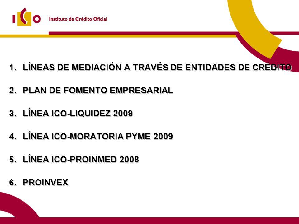 1.LÍNEAS DE MEDIACIÓN A TRAVÉS DE ENTIDADES DE CRÉDITO 2.PLAN DE FOMENTO EMPRESARIAL 3.LÍNEA ICO-LIQUIDEZ 2009 4.LÍNEA ICO-MORATORIA PYME 2009 5.LÍNEA ICO-PROINMED 2008 6.PROINVEX