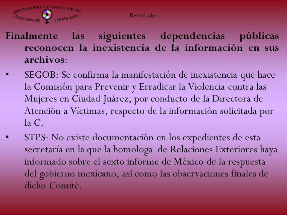 Finalmente las siguientes dependencias públicas reconocen la inexistencia de la información en sus archivos: SEGOB: Se confirma la manifestación de inexistencia que hace la Comisión para Prevenir y Erradicar la Violencia contra las Mujeres en Ciudad Juárez, por conducto de la Directora de Atención a Víctimas, respecto de la información solicitada por la C.