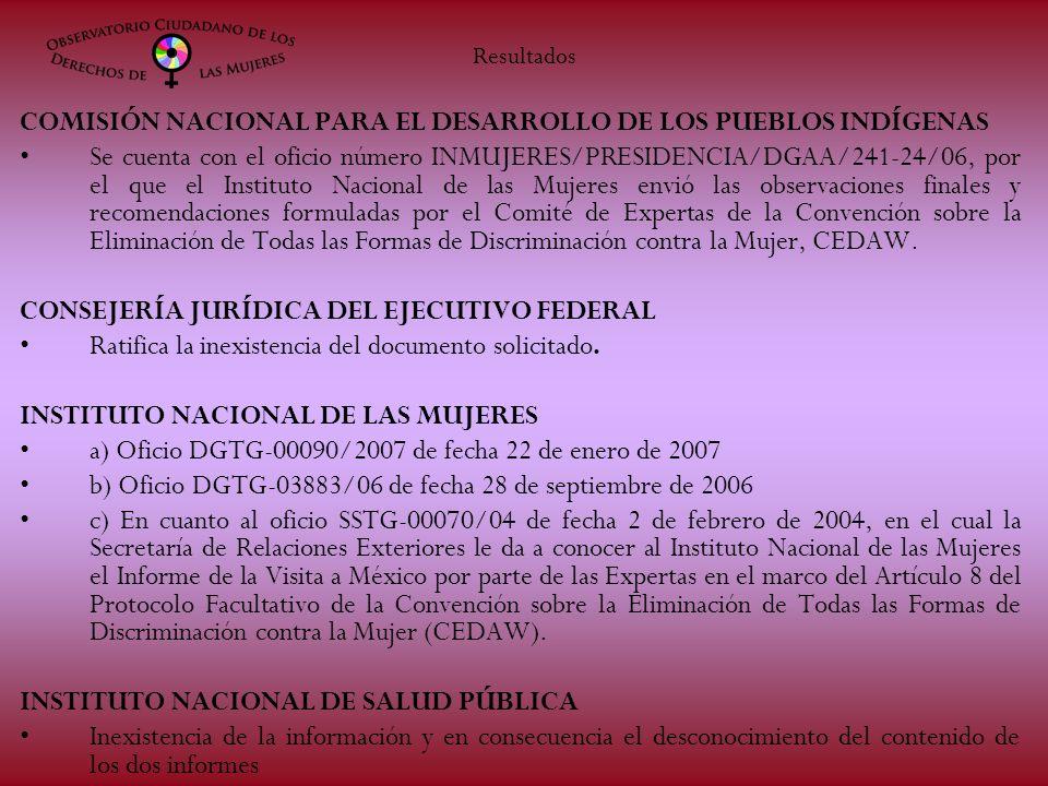 COMISIÓN NACIONAL PARA EL DESARROLLO DE LOS PUEBLOS INDÍGENAS Se cuenta con el oficio número INMUJERES/PRESIDENCIA/DGAA/241-24/06, por el que el Insti