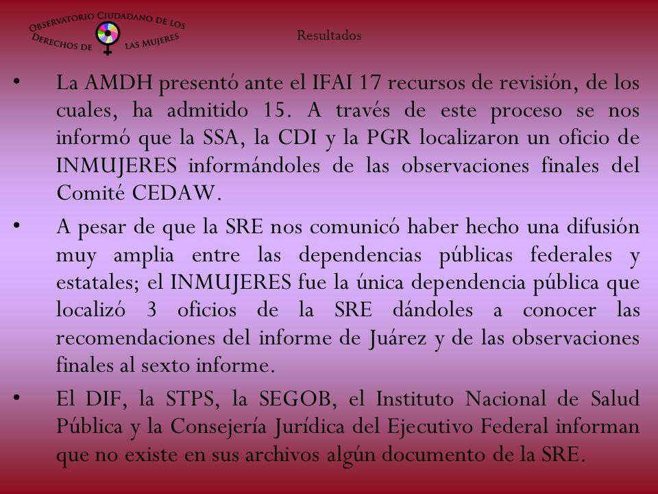 La AMDH presentó ante el IFAI 17 recursos de revisión, de los cuales, ha admitido 15. A través de este proceso se nos informó que la SSA, la CDI y la