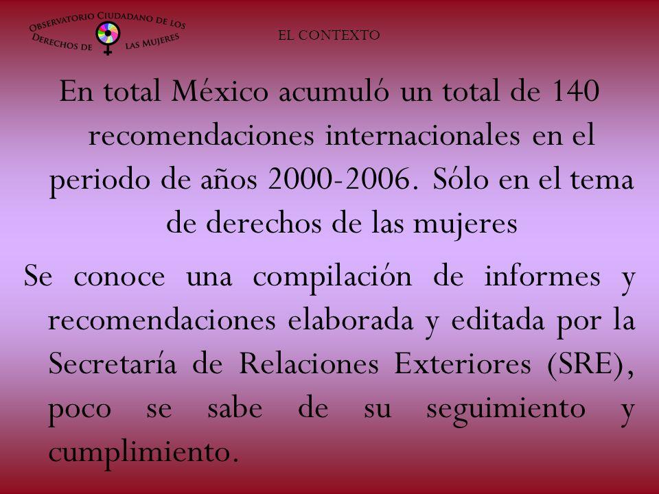 EL CONTEXTO En total México acumuló un total de 140 recomendaciones internacionales en el periodo de años 2000-2006. Sólo en el tema de derechos de la