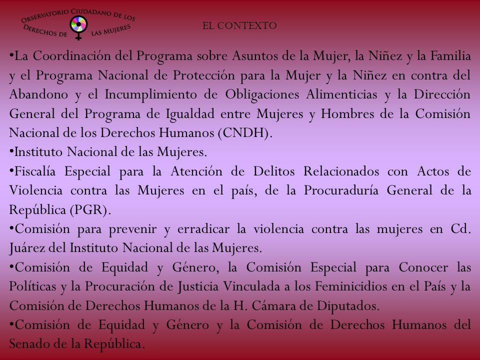 EL CONTEXTO La Coordinación del Programa sobre Asuntos de la Mujer, la Niñez y la Familia y el Programa Nacional de Protección para la Mujer y la Niñe