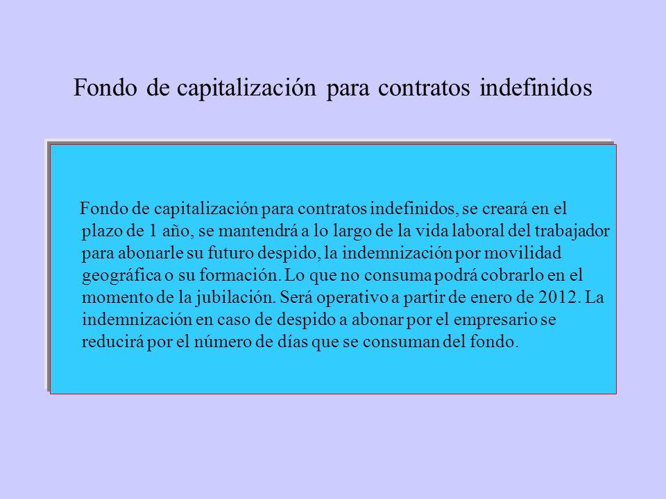 Fondo de capitalización para contratos indefinidos Fondo de capitalización para contratos indefinidos, se creará en el plazo de 1 año, se mantendrá a