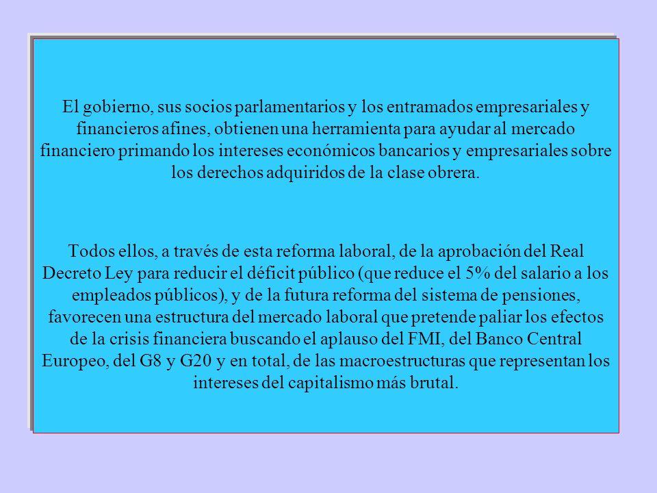 El gobierno, sus socios parlamentarios y los entramados empresariales y financieros afines, obtienen una herramienta para ayudar al mercado financiero primando los intereses económicos bancarios y empresariales sobre los derechos adquiridos de la clase obrera.