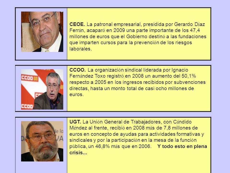 CEOE. La patronal empresarial, presidida por Gerardo D í az Ferr á n, acapar ó en 2009 una parte importante de los 47,4 millones de euros que el Gobie