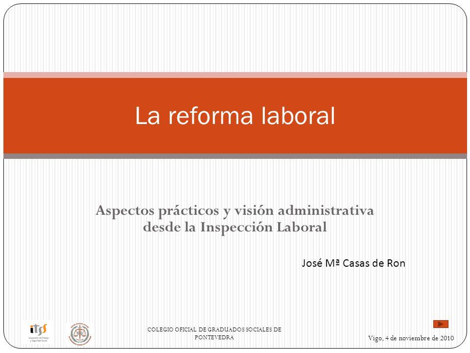COLEGIO OFICIAL DE GRADUADOS SOCIALES DE PONTEVEDRA Vigo, 4 de noviembre de 2010 Aspectos prácticos y visión administrativa desde la Inspección Laboral La reforma laboral José Mª Casas de Ron
