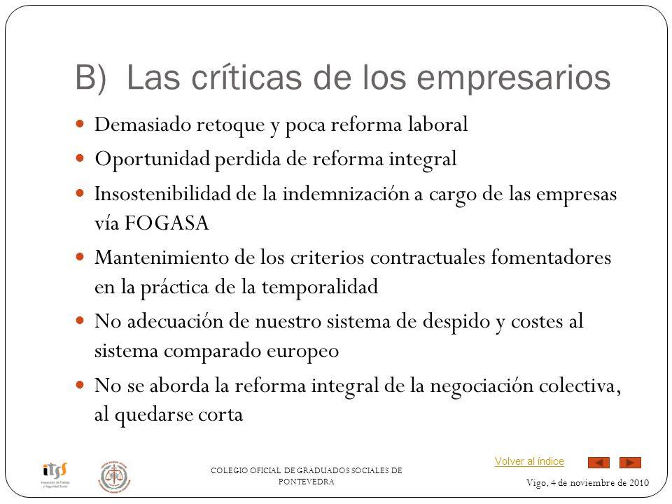 COLEGIO OFICIAL DE GRADUADOS SOCIALES DE PONTEVEDRA Vigo, 4 de noviembre de 2010 B) Las críticas de los empresarios Demasiado retoque y poca reforma l