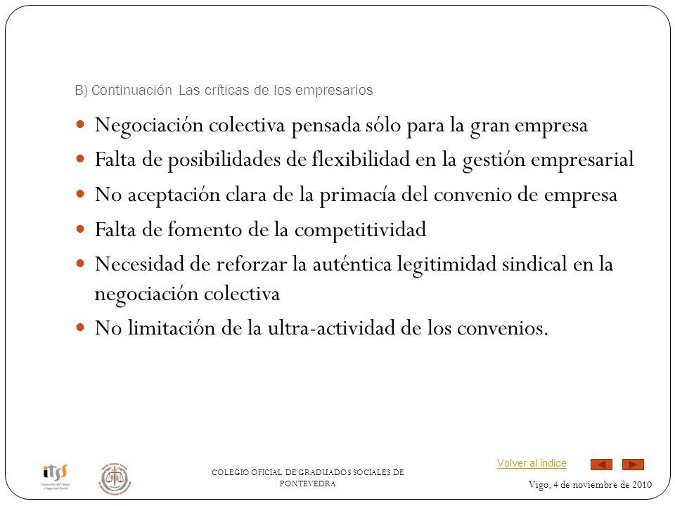 COLEGIO OFICIAL DE GRADUADOS SOCIALES DE PONTEVEDRA Vigo, 4 de noviembre de 2010 B) Continuación Las críticas de los empresarios Negociación colectiva