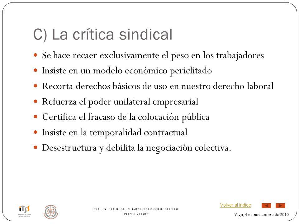COLEGIO OFICIAL DE GRADUADOS SOCIALES DE PONTEVEDRA Vigo, 4 de noviembre de 2010 C) La crítica sindical Se hace recaer exclusivamente el peso en los t