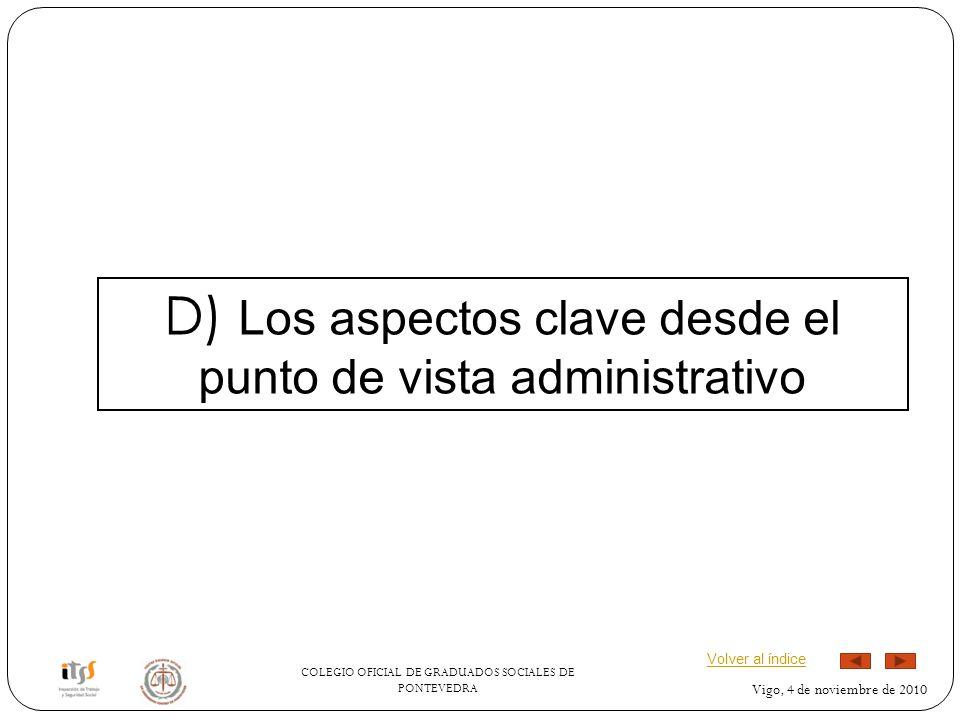 COLEGIO OFICIAL DE GRADUADOS SOCIALES DE PONTEVEDRA Vigo, 4 de noviembre de 2010 D) Los aspectos clave desde el punto de vista administrativo Volver al índice