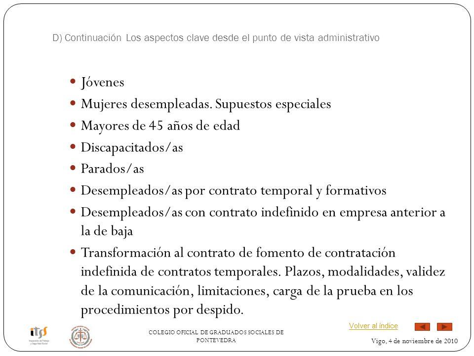 COLEGIO OFICIAL DE GRADUADOS SOCIALES DE PONTEVEDRA Vigo, 4 de noviembre de 2010 D) Continuación Los aspectos clave desde el punto de vista administrativo Jóvenes Mujeres desempleadas.