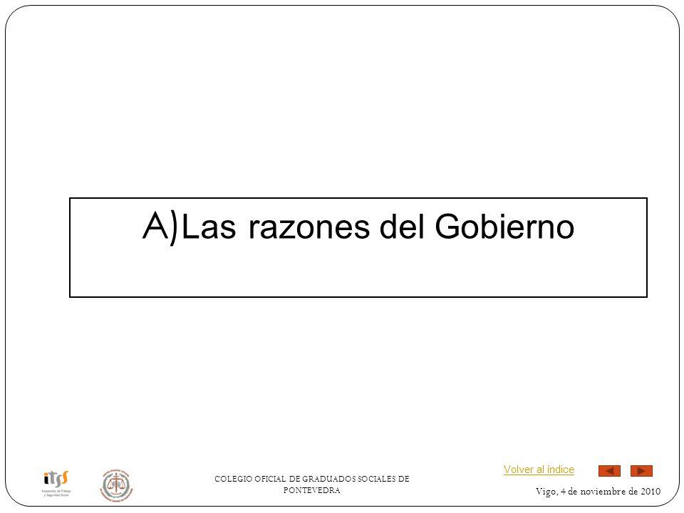 COLEGIO OFICIAL DE GRADUADOS SOCIALES DE PONTEVEDRA Vigo, 4 de noviembre de 2010 A) Las razones del Gobierno Volver al índice