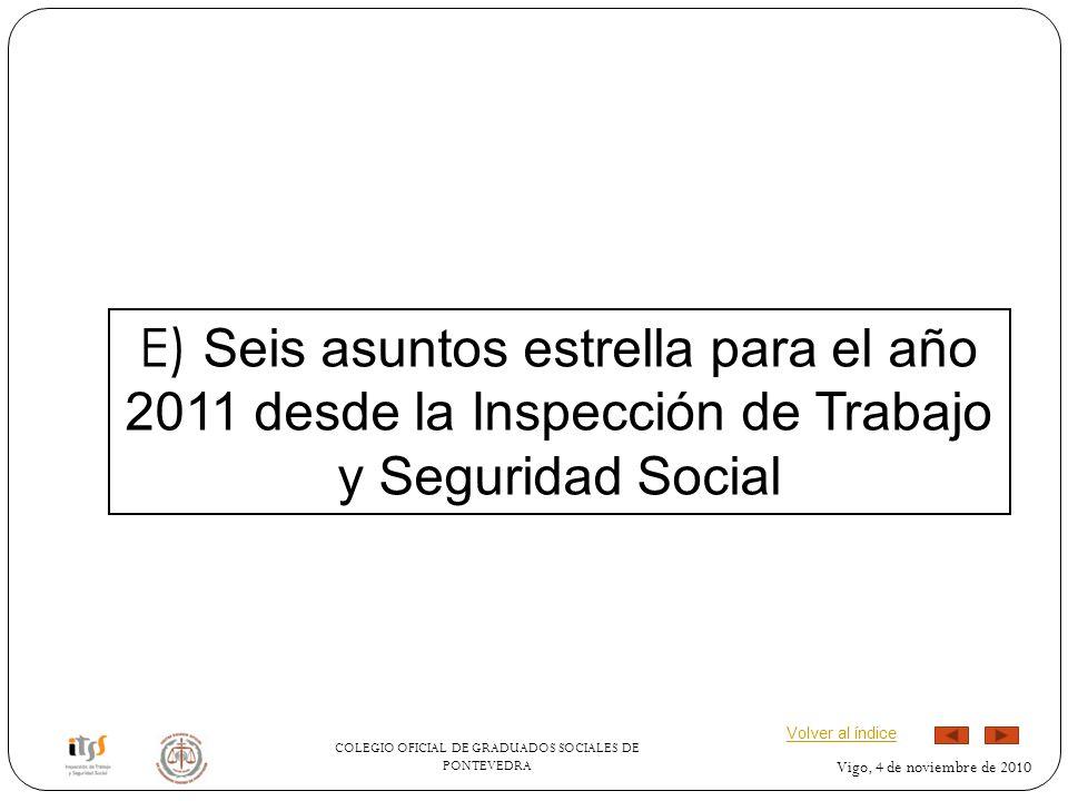 COLEGIO OFICIAL DE GRADUADOS SOCIALES DE PONTEVEDRA Vigo, 4 de noviembre de 2010 E) Seis asuntos estrella para el año 2011 desde la Inspección de Trabajo y Seguridad Social Volver al índice