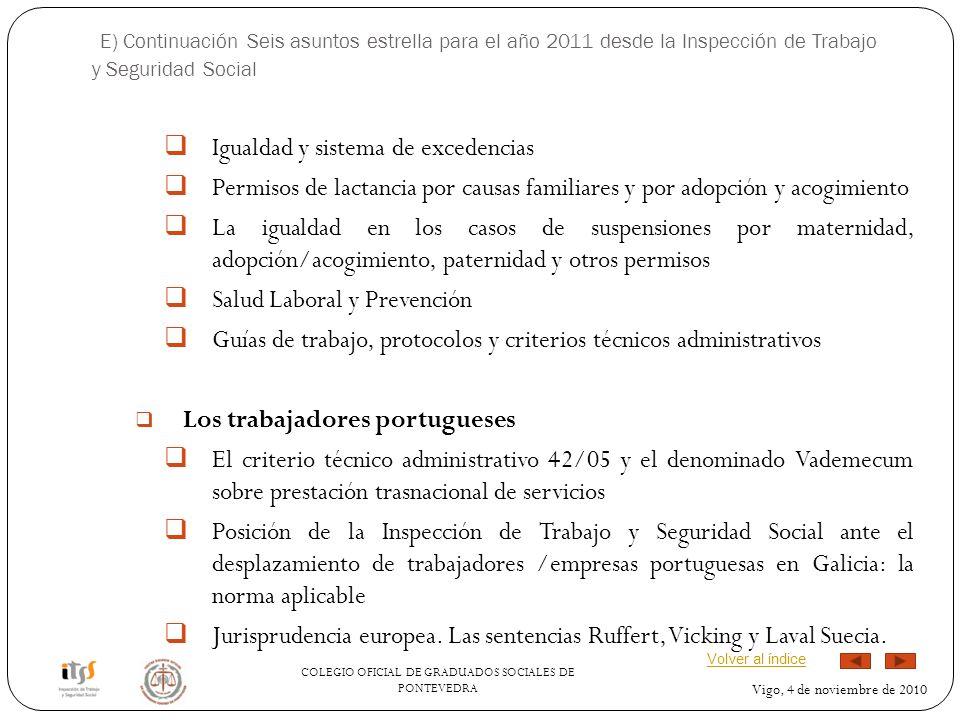 COLEGIO OFICIAL DE GRADUADOS SOCIALES DE PONTEVEDRA Vigo, 4 de noviembre de 2010 E) Continuación Seis asuntos estrella para el año 2011 desde la Inspe