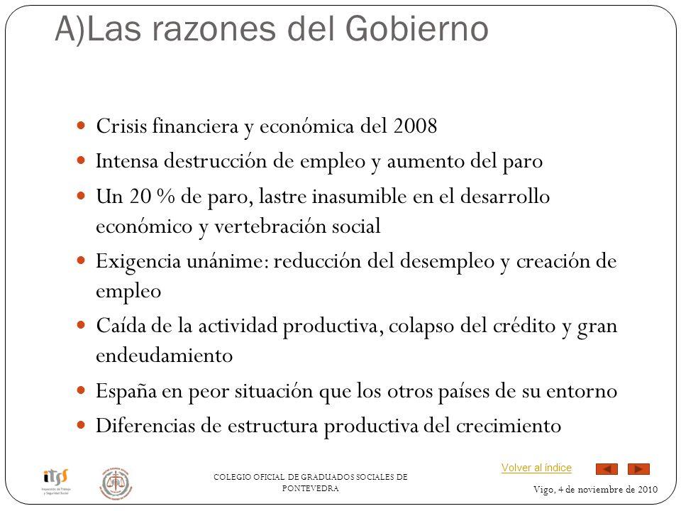COLEGIO OFICIAL DE GRADUADOS SOCIALES DE PONTEVEDRA Vigo, 4 de noviembre de 2010 A)Las razones del Gobierno Crisis financiera y económica del 2008 Int