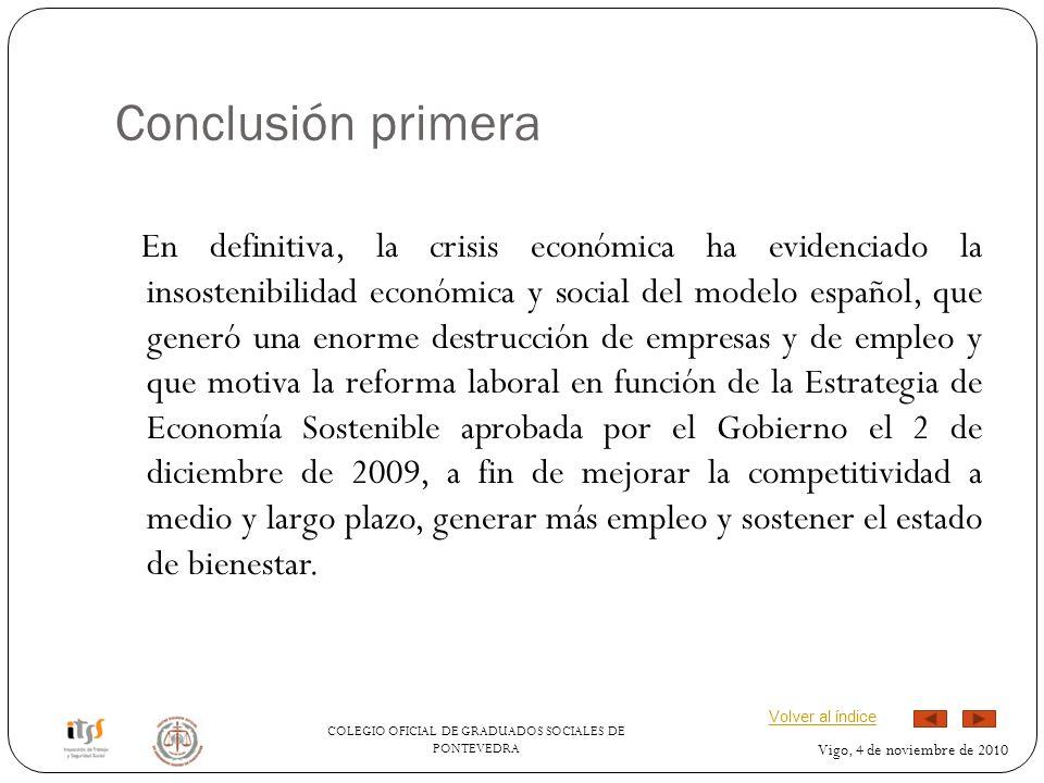 COLEGIO OFICIAL DE GRADUADOS SOCIALES DE PONTEVEDRA Vigo, 4 de noviembre de 2010 Conclusión primera En definitiva, la crisis económica ha evidenciado