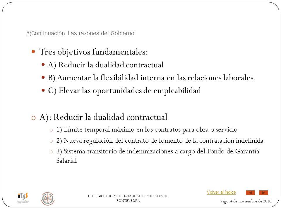 COLEGIO OFICIAL DE GRADUADOS SOCIALES DE PONTEVEDRA Vigo, 4 de noviembre de 2010 A)Continuación Las razones del Gobierno Tres objetivos fundamentales: