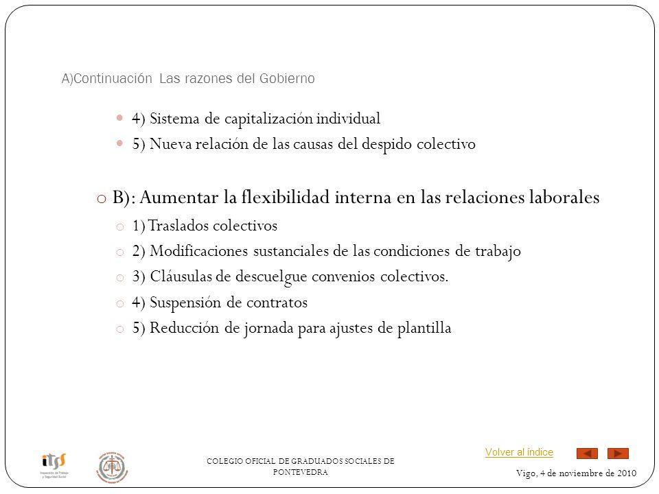 COLEGIO OFICIAL DE GRADUADOS SOCIALES DE PONTEVEDRA Vigo, 4 de noviembre de 2010 A)Continuación Las razones del Gobierno 4) Sistema de capitalización