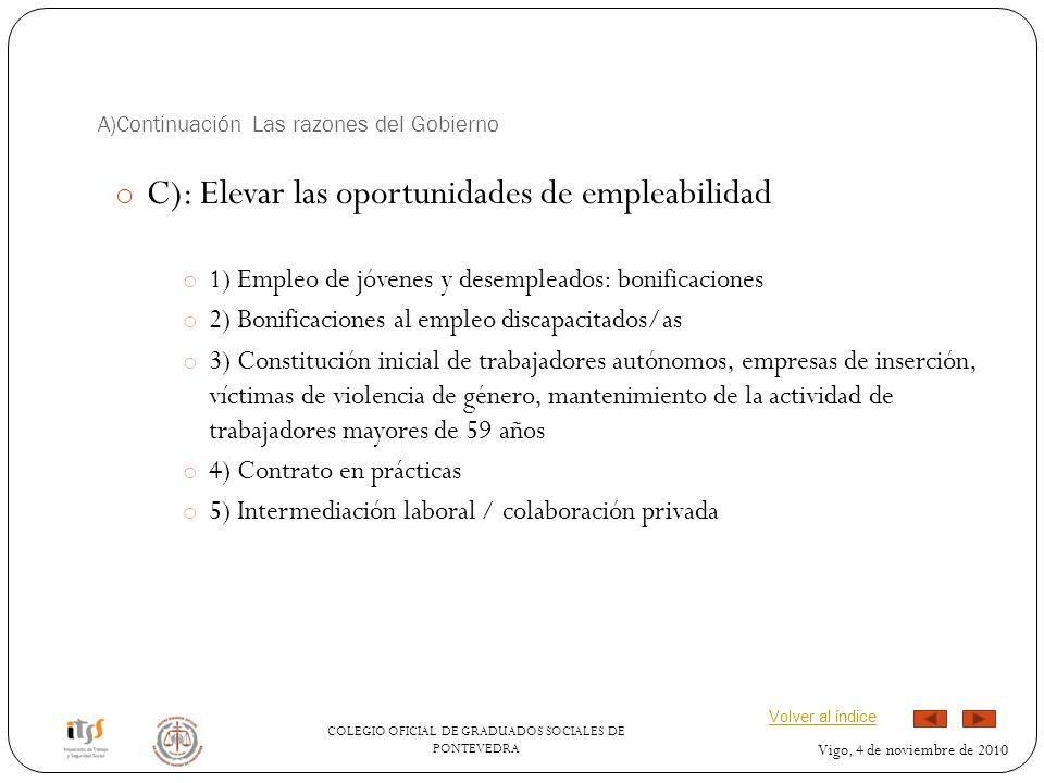 COLEGIO OFICIAL DE GRADUADOS SOCIALES DE PONTEVEDRA Vigo, 4 de noviembre de 2010 A)Continuación Las razones del Gobierno o C): Elevar las oportunidade