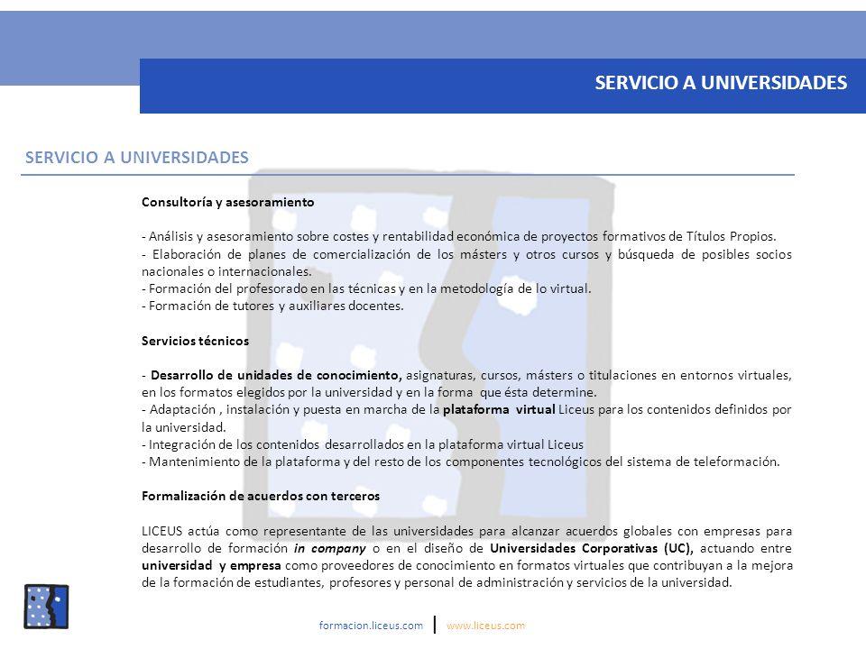 Consultoría y asesoramiento - Análisis y asesoramiento sobre costes y rentabilidad económica de proyectos formativos de Títulos Propios. - Elaboración