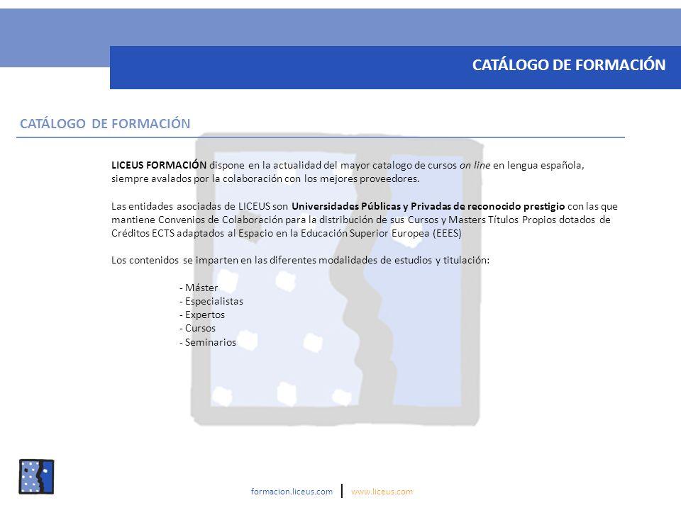LICEUS FORMACIÓN dispone en la actualidad del mayor catalogo de cursos on line en lengua española, siempre avalados por la colaboración con los mejore