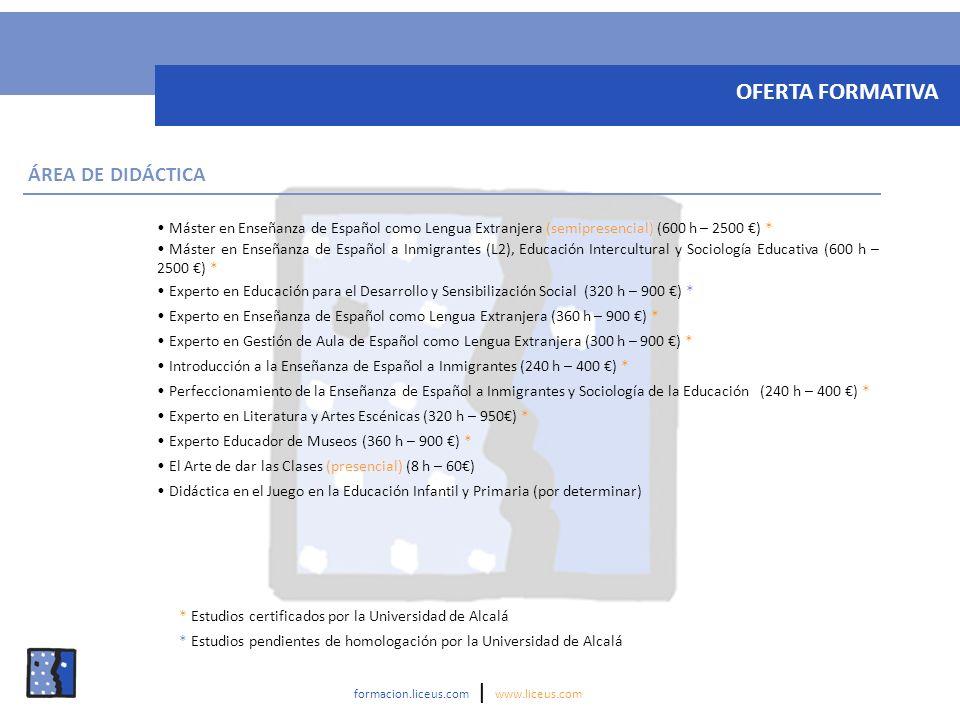 Máster en Enseñanza de Español como Lengua Extranjera (semipresencial) (600 h – 2500 ) * Máster en Enseñanza de Español a Inmigrantes (L2), Educación