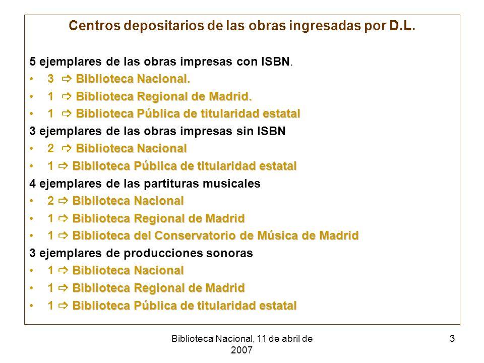 Biblioteca Nacional, 11 de abril de 2007 4 El modelo de la Comunidad de MadridSelectivo Control Bibliográfico Memoria de la Región Necesidades de los usuarios Consideración: en la Comunidad de Madrid se encuentran centros bibliotecarios y bibliográficos muy importantes