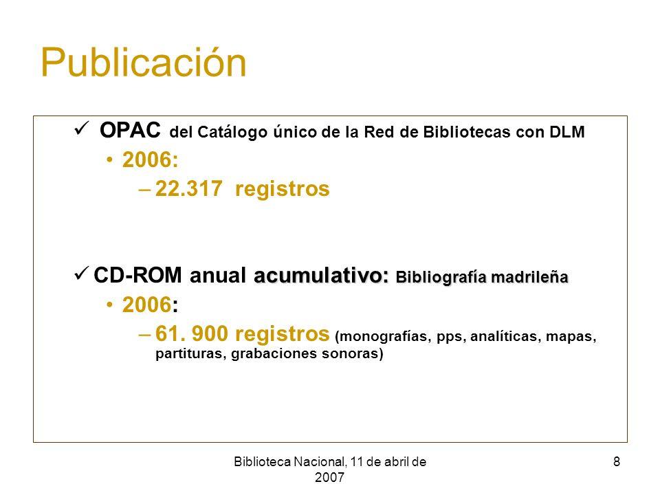 Biblioteca Nacional, 11 de abril de 2007 9 Normativa de los registros bibliográficos Normas nacionales e internacionales Reglas de catalogación españolas Formato Marc (Ibermarc) CDU Encabezamientos de materia (BN) Números normalizados