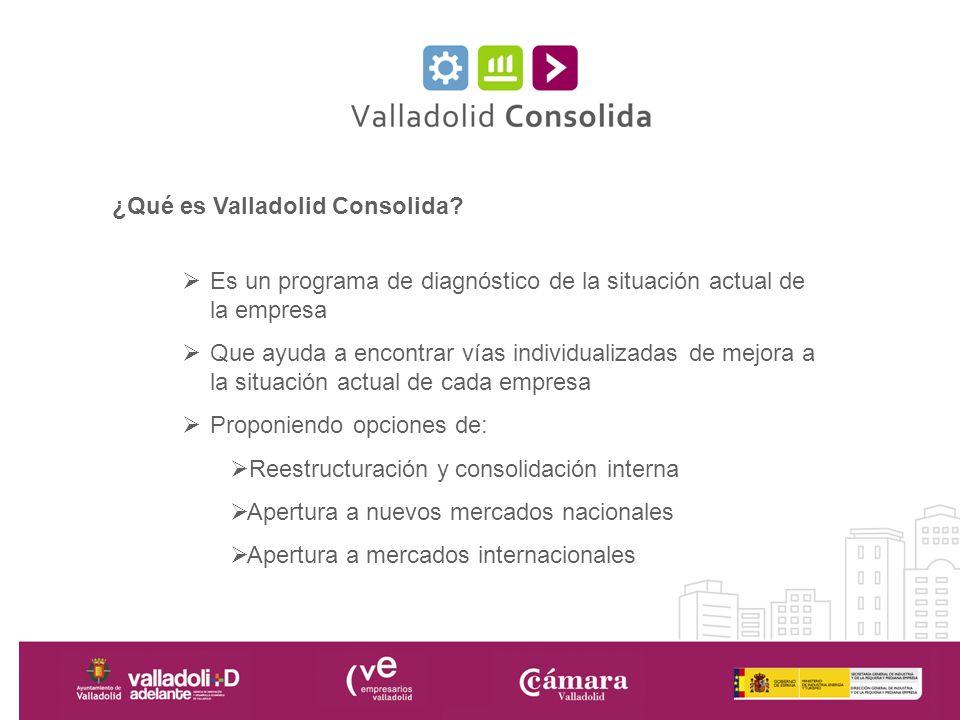 ¿Qué es Valladolid Consolida? Es un programa de diagnóstico de la situación actual de la empresa Que ayuda a encontrar vías individualizadas de mejora