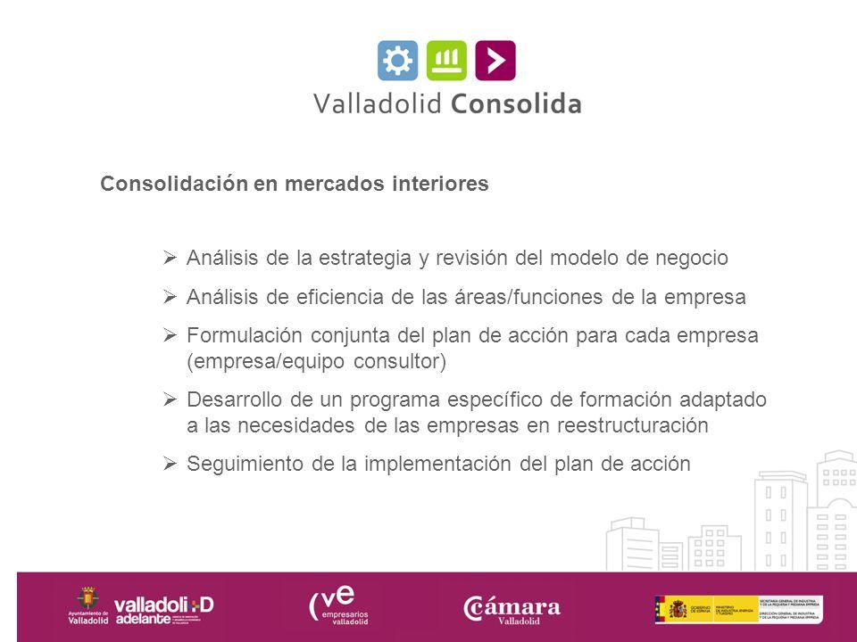 Consolidación en mercados interiores Análisis de la estrategia y revisión del modelo de negocio Análisis de eficiencia de las áreas/funciones de la em