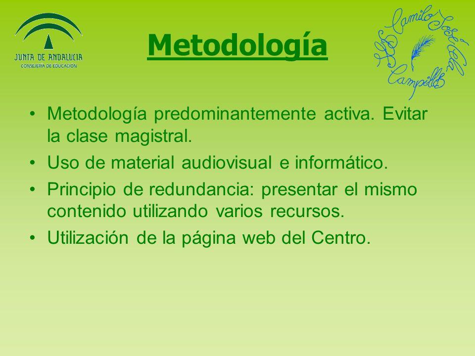 Metodología Metodología predominantemente activa.Evitar la clase magistral.