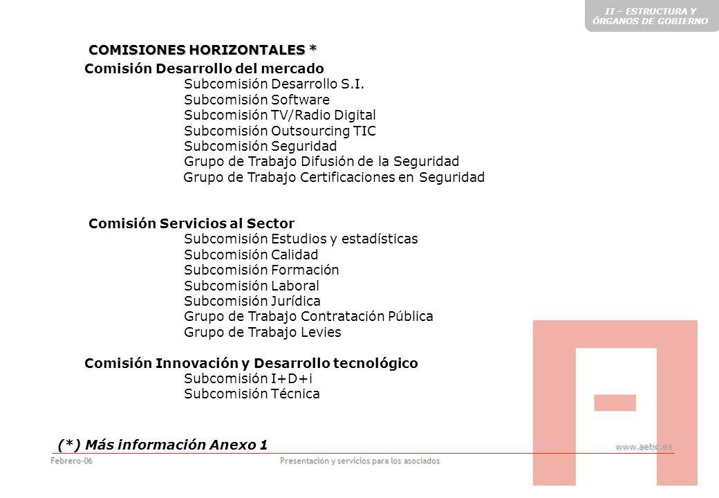 www.aetic.es Presentación y servicios para los asociados Febrero-06 Comisión Desarrollo del mercado Subcomisión Desarrollo S.I.