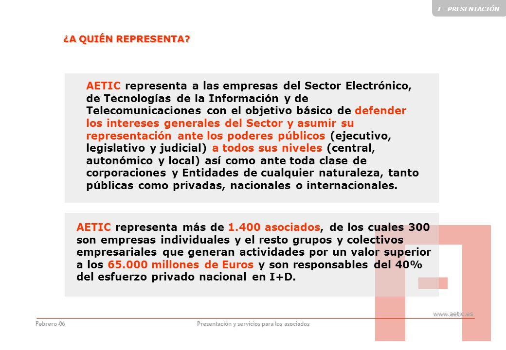 www.aetic.es Presentación y servicios para los asociados Febrero-06 AETIC Sede social: Príncipe de Vergara 74, 4ª planta 28006 MADRID Telf.