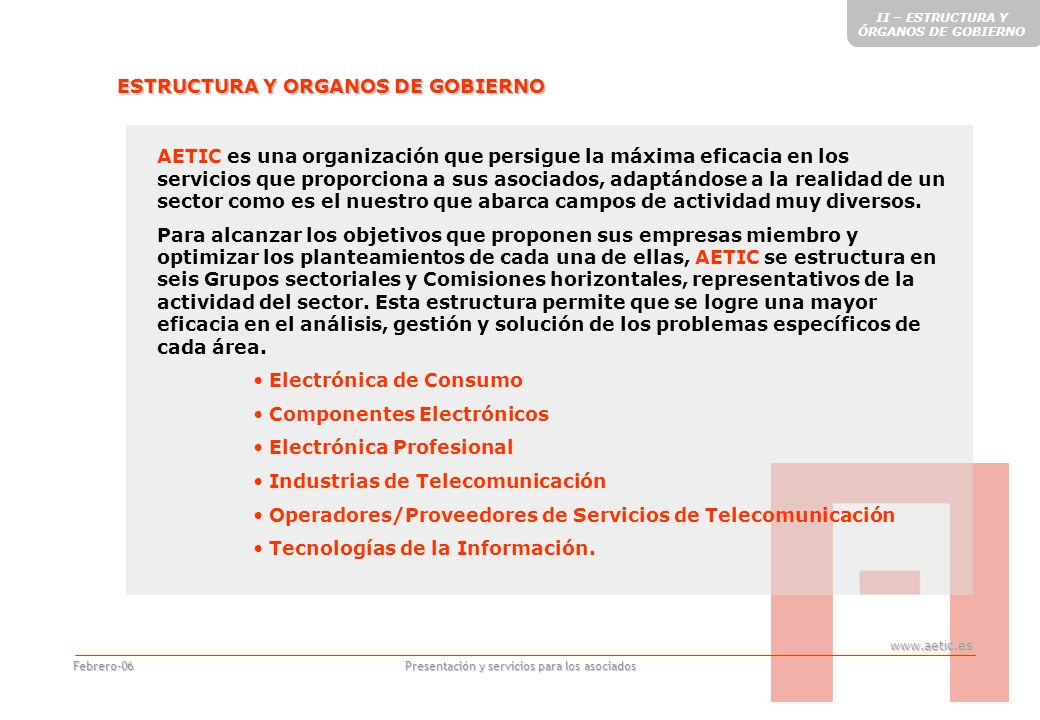 www.aetic.es Presentación y servicios para los asociados Febrero-06 GRUPOS SECTORIALES Electrónica de Consumo Componentes Electrónicos Electrónica Profesional Industrias de Telecomunicación Operadores/Proveedores de Servicios de Telecomunicación Tecnologías de la Información Son seis en total, que definen los subsectores representados por AETIC.
